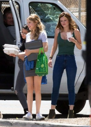 Bella Thorne in Jeans On the set of You Get Me -04