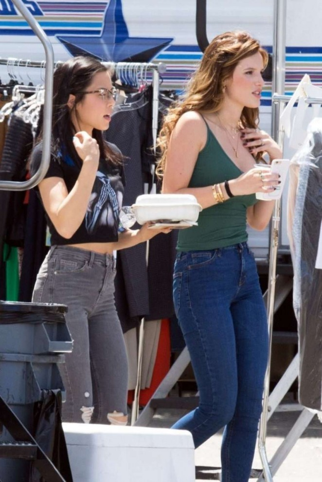 Bella Thorne 2016 : Bella Thorne in Jeans On the set of You Get Me -07