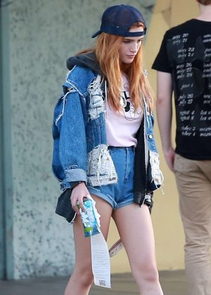 Bella Thorne in Jeans Shorts Shopping in Los Angeles