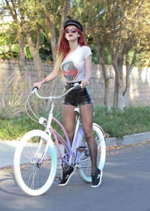 Bella Thorne in Leather Shorts Riding a Bike in LA