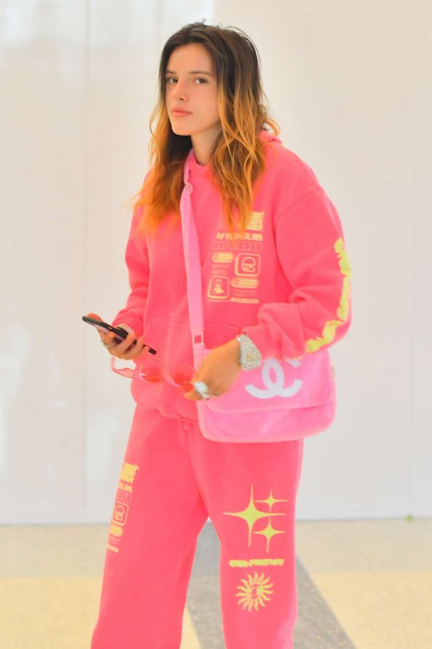 Bella Thorne in Pink - Arrives at LAX International Airport in LA