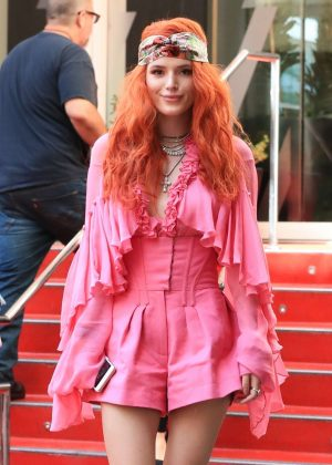 Bella Thorne in Pink - Leaves the W Hotel in West Hollywood