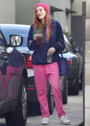 Bella Thorne in Pink Sweats out in Los Angeles