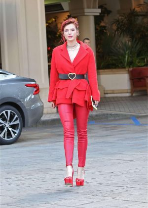 Bella Thorne in Red at the Four seasons Hotel in LA