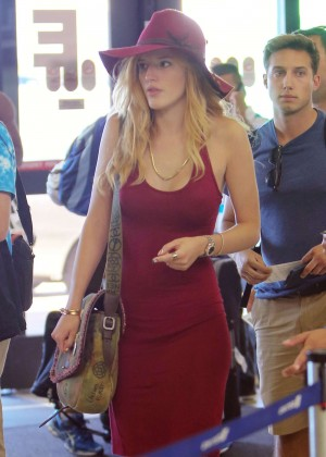 Bella Thorne in Red Mini Dress at LAX Airport in LA