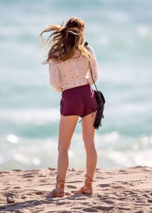 Bella Thorne in Red Shorts On You Get Me -04