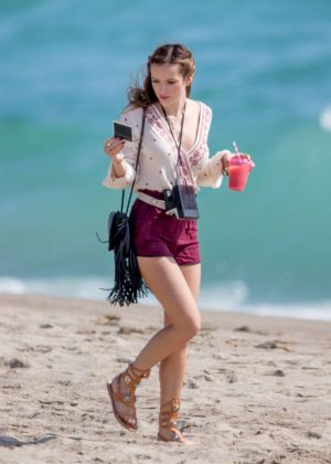Bella Thorne in Red Shorts On You Get Me -11