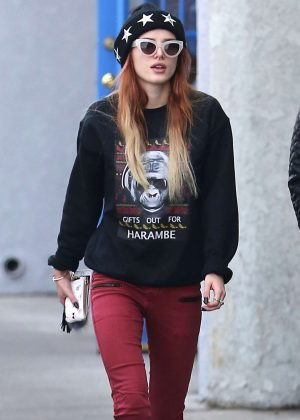Bella Thorne in Red Tights at Jinky's Studio Cafe in LA