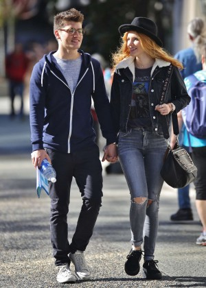 Bella Thorne in Ripped Jeans out in Vancouver