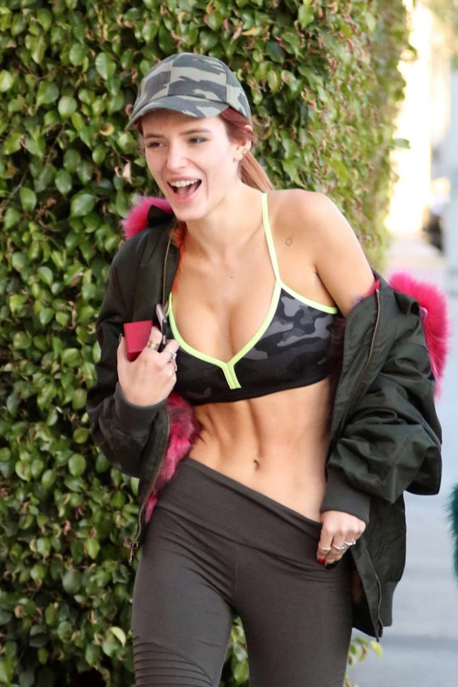 Bella Thorne in Tights and Sports Bra at Yoga Class in Studio City