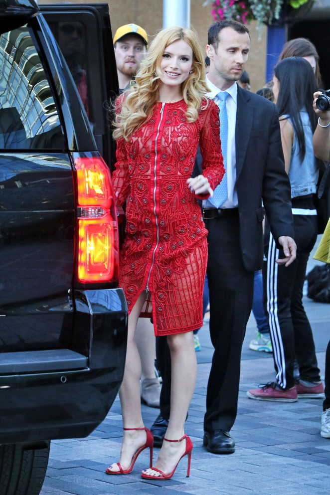 Bella Thorne in Red Dress Leaving her hotel in Toronto
