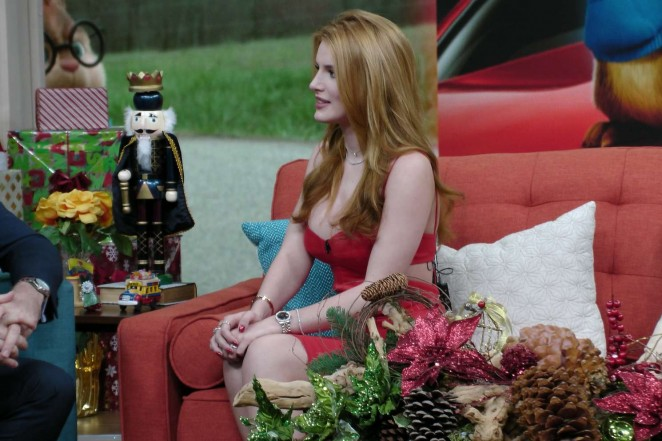Bella Thorne: hot in red dress On Despierta America in Miami-12