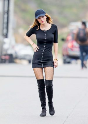 Bella Thorne in Tight Dress on You Get Me Set -10