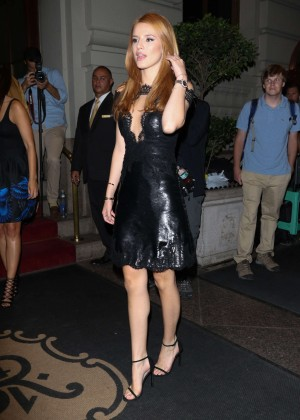 Bella Thorne in Leather Dress out in NYC