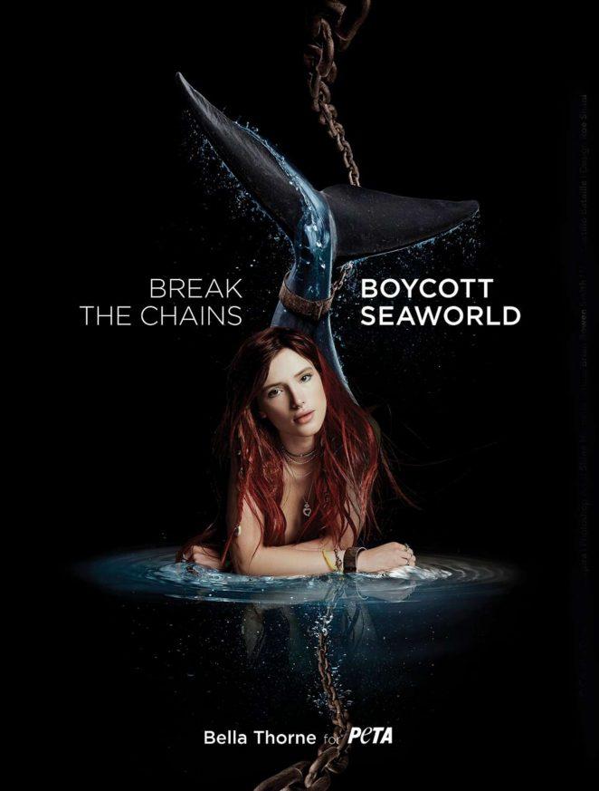 Bella Thorne - PeTA Campaign against Sea World (July 2018)