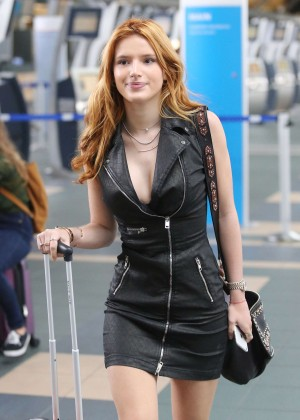 Bella Thorne in Short Dress at Vancouver International Airport