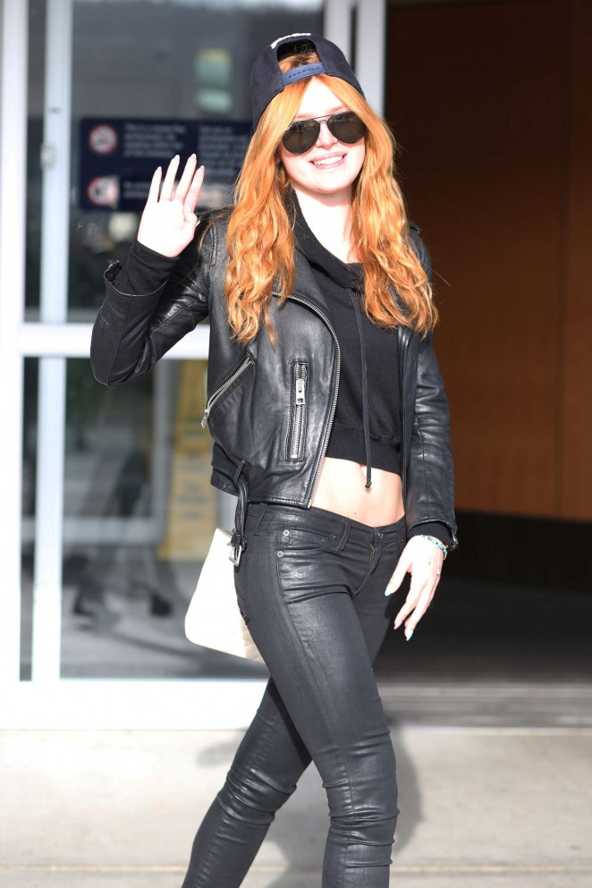 Bella Thorne in Leather at Victoria Island Airport in British Columbia