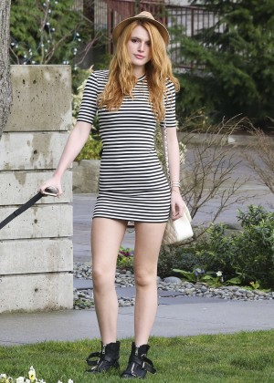 Bella Thorne in Short Dress Walking her dog in LA