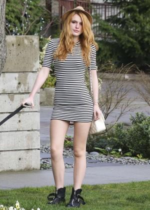 Bella Thorne in Short Dress Walking her dog in LA