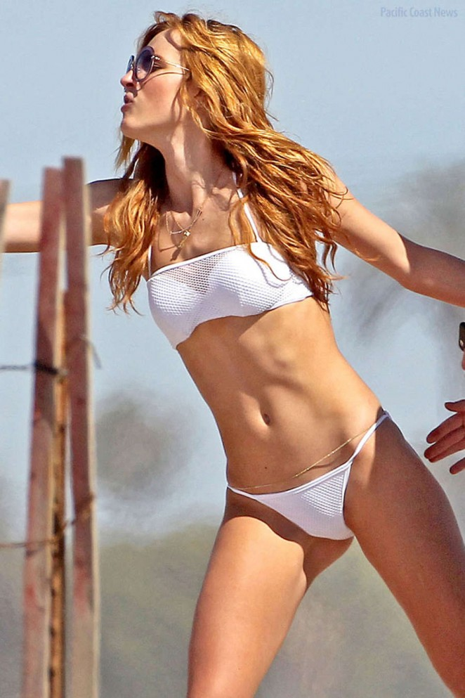 Bella Thorne – Wearing White Bikini at the Beach