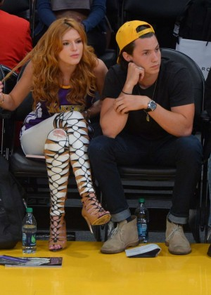 Bella Thorne With Boyfriend at Lakers Game in LA