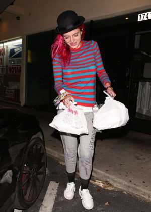 Bella Thorne With Hat Night Out in Encino