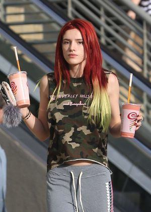 Bella Thorne With New Red Hair out in Hollywood
