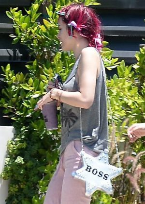Bella Thorne with red hair in Beverly Hills