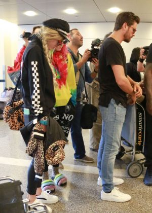Bella Thorne with Scott Disick and Dani Thorne at LAX airport in LA
