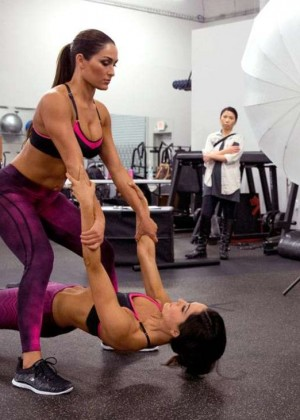 Bella Twins: Muscle and Fitness Hers 2015 (Behind the Scenes) -01