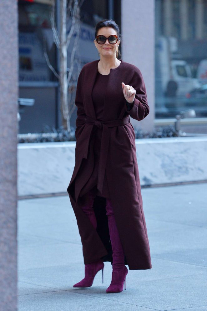 Bellamy Young in Long Coat out in New York