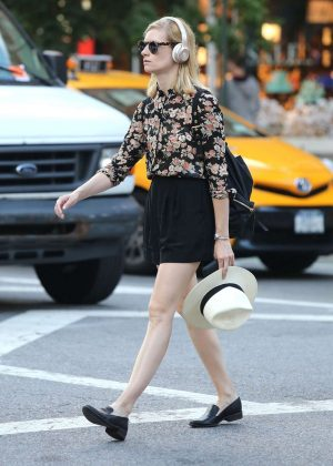 Beth Behrs in Black Shorts Out in NYC