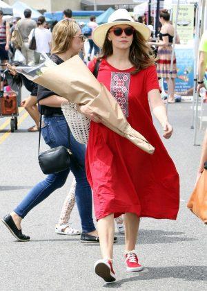 Bethany Joy Lenz in Red Dress - Buys flowers in Studio City
