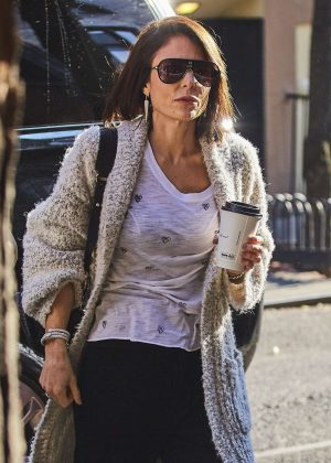 Bethenny Frankel in a fury coat out in New York