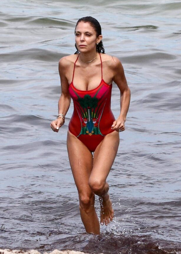 Bethenny Frankel - In a red one-piece swimsuit in Miami