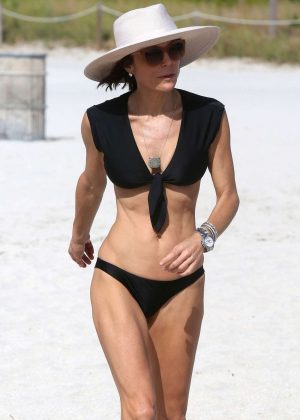 Bethenny Frankel in Black Bikini on Miami Beach