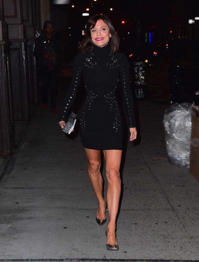Bethenny Frankel in Black Mini Dress out in NYC