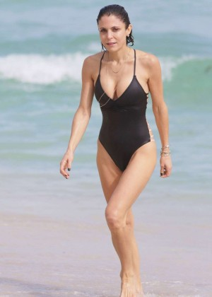 Bethenny Frankel in Black Swimsuit in Miami