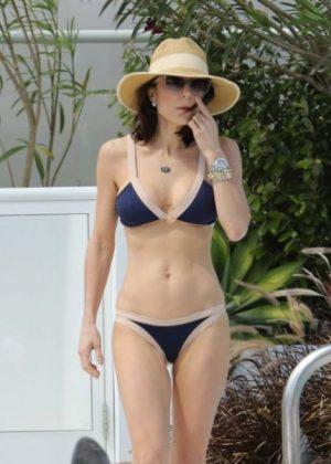 Bethenny Frankel in Blue Bikini at a Pool in Miami