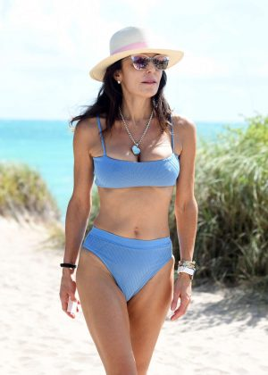 Bethenny Frankel in Blue Bikini on the beach in Miami