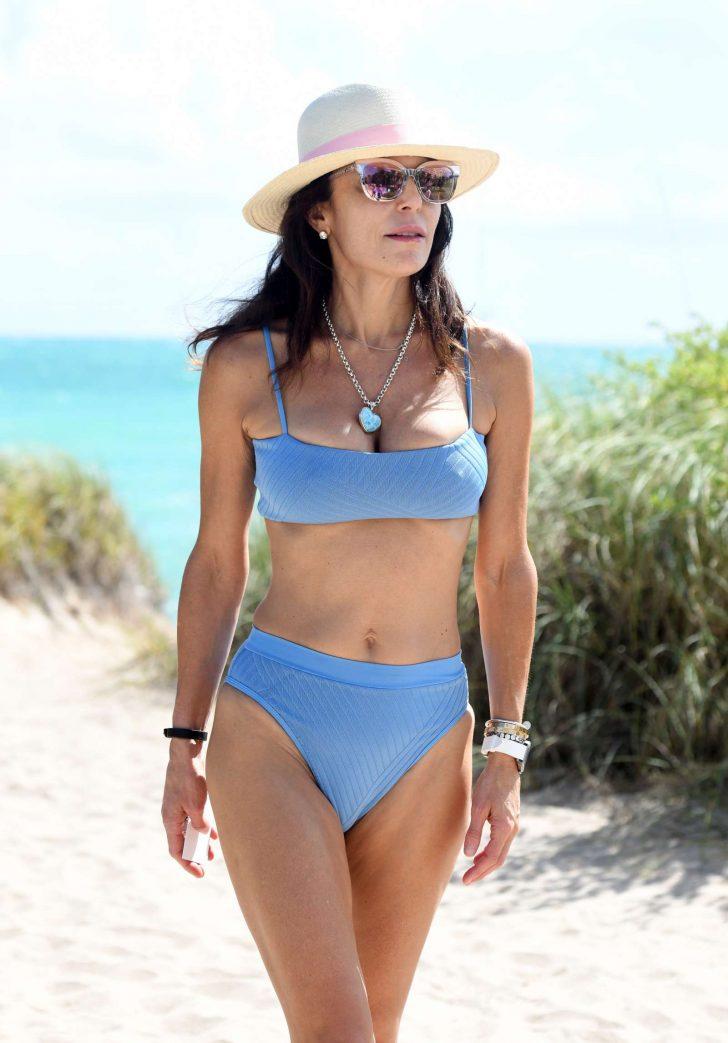 Bethenny Frankel in Blue Bikini on the beach in Miami