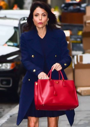 Bethenny Frankel in Blue Coat out in New York