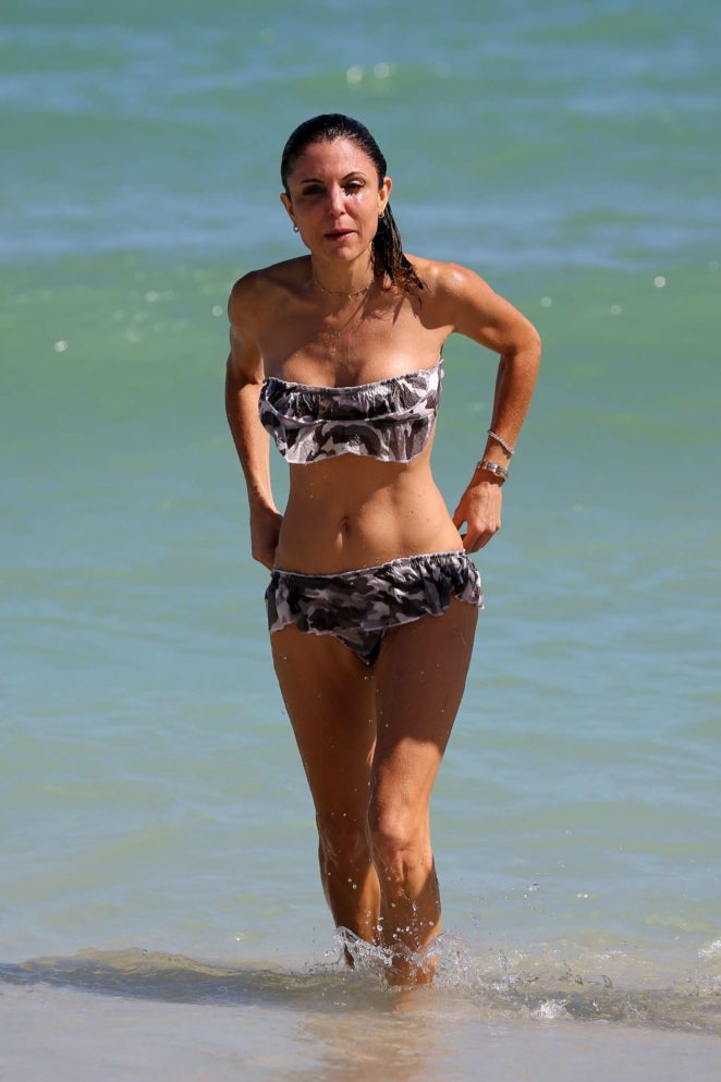 Bethenny Frankel in Floral Bikini on Miami Beach