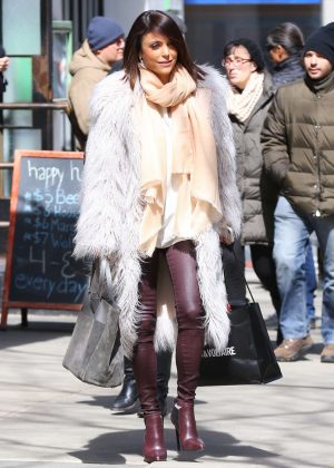 Bethenny Frankel in Fur Coat and Leather Pants shopping in New York