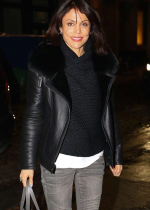 Bethenny Frankel in Jeans and Leather Jacket out in New York