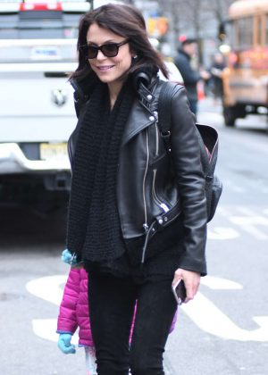 Bethenny Frankel in Leather Jacket out in New York