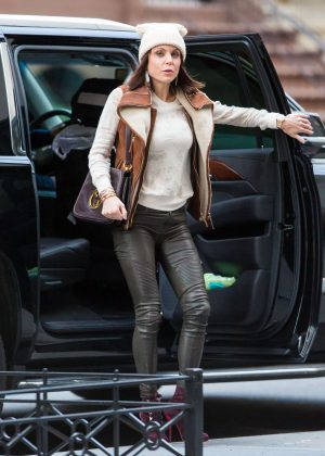 Bethenny Frankel in Leather Pants out in New York