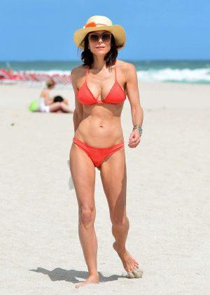Bethenny Frankel in Red Bikini on the beach in Miami
