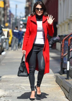 Bethenny Frankel in Red Coat Out in New York