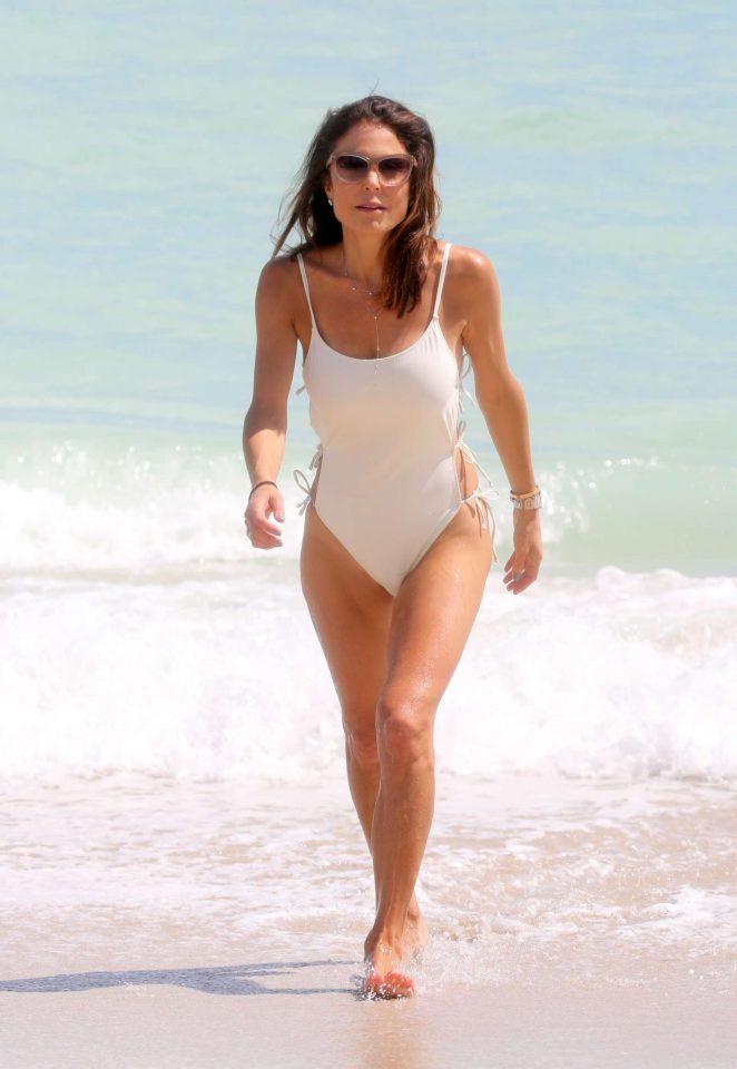 a24e02a4942 Bethenny Frankel in White Swimsuit on Miami Beach | GotCeleb